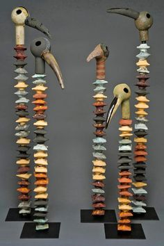 "In 'Earth,' the Work of Ceramic Artists Is Displayed - The New York Times Marilyn Richeda's ""Lineage: 5 Spiney Birds."" Credit Joseph Giunta"