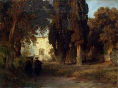 Oswald Achenbach - 1857 Garden in a Monastery