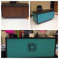Rethunk Junk teachers desk makeover. Painted with Rethunk Junk furniture paint in Midnight and Peacock Feather. Add your monogram and its a fresh new look for less. #rethunkjunk #breakthechalkhabit #nowaxever