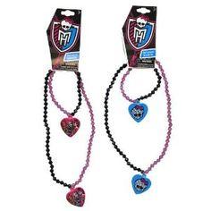 Monster High BLING Beaded Skull Dangle Heart Necklace & Bracelet Set: Jewelry: Amazon.com