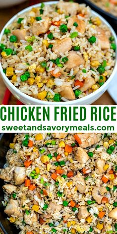 Chicken Fried Rice is a hearty and savory dinner option for the whole family! #chickenfriedrice #rice #chicken #sweetandsavorymeals #dinner