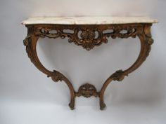 Stunning French Elegant Gilded Wooden Carved Console Table with Original Marble Top