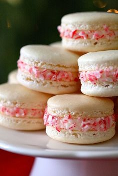 Candy Cane Macarons    Yield: about 20 macarons  Ingredients:  For the macaron shells*:  200 grams confectioners' sugar  110 grams almonds (blanched, slivered, or sliced)  90 grams egg whites (aged at room temperature for 1 day or 3-5 days in the fridge)  25 grams granulated sugar    Please note – measuring by weight is essential for macarons,