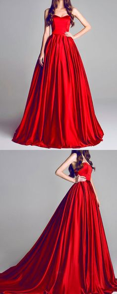 Long Cheap Prom Dresses, Elegant A-Line Evening Dress,Sweetheart Red Formal Dress,Floor-Length Evening Dress,Chic Prom Dress 2017,Prom Dresses