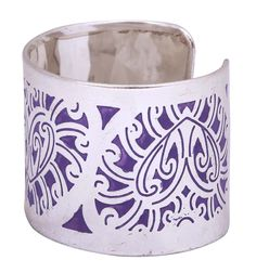 Bulk Wholesale Handmade Open End Cuff Bracelet / Bangle in Metal with Silver Color Finish – Decorated with Purple Abstract Patterns – Fashion Accessories / Stylish Jewelry from India