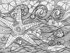 Art - B - Starfish - by Zentangle Tangle Doodle, Tangle Art, Doodles Zentangles, Zentangle Patterns, Doodle Art, Coloring Pages For Grown Ups, Coloring Book Pages, Doodle Inspiration, Zen Art