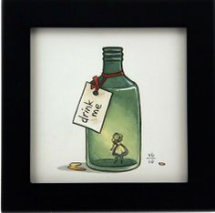 Scroobius Pip- Porter. [Cell 1. Drink me or Eat me(F-me). Alice-Tattoos. In alcoholic bottle. Crumb or small cupcake with eat me.]