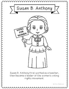 Susan B. Anthony Coloring Page | Worksheets, Social studies and ...