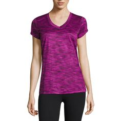 Xersion™ Quick-Dri Short-Sleeve Melange Tee, Gray (Size: Petite... ($9.99) ❤ liked on Polyvore featuring activewear, activewear tops, petite shirts, wicking shirts, xersion, short sleeve v neck shirts and sweat wicking shirts