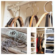 love all these ideas - am going to hang my purses with my old shower curtain rings & check out the jewlerly drawers made out of old picture frames - LOVE IT!!