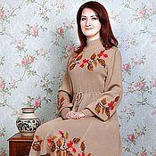 Одежда ручной работы. Ярмарка Мастеров - ручная работа платье тёплое вязаное Осенние мотивы. Handmade.