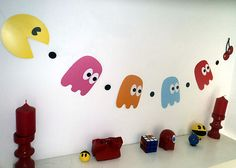80s Party Decoration Pacman and Ghosts Bunting Pac Man 160cm Long | eBay