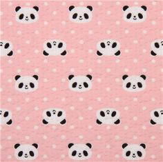 pink panda seersucker Poplin fabric Cosmo Japan