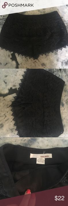 Black crochet lace shorts Romper summer coverup 😍 Coachella here we come - such a cute pair of lace shorts with side zip -- does need a part of the middle lace row to be bent back to the original place as it has become bent from storage. Never worn no tags - tags: free people asos topshop Vince 😍 Sans Souci Shorts