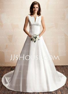Vestidos de noiva - $162.99 - Vestidos princesa/ Formato A Decote V Cauda capela cetim Vestido de noiva com Bordado (002000072) http://jjshouse.com/pt/Vestidos-Princesa-Formato-A-Decote-V-Cauda-Capela-Cetim-Vestido-De-Noiva-Com-Bordado-002000072-g72