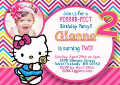 Hello Kitty Invitation by 123invites on Etsy, $12.00