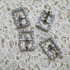 Small Vintage Rhinestone Buckles with working prongs...4 tiny buckles for embellishing collages, dolls, crazy quilting, art journals, etc.