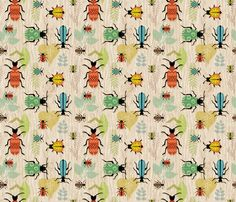 Beetle Mania fabric by sheri_mcculley on Spoonflower - custom fabric ~ NUMBER 7 of the Beetles Contest on Spoonflower! Congratulations Sheri!