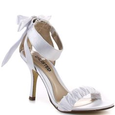 Add this pretty pump to your next party outfit from Unlisted.  TV List is a white satin sandal with a 3 inch heel. There is ruching detail on the strap at the vamp and cut outs on either side the heel.  A gorgeous bow with rhinestone embellishment finalizes this fancy pump.
