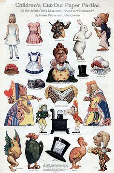 alice in wonderland paper cutouts