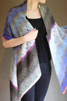 Knitting Pattern for Windfeather Shawl - This stunning reversible shawl features feathery lace and rippling garter stitch knit with multiple colors of sport-weight yarn. Designed by Carol Sunday. 3 shapes / sizes: scarf, stole, and shawl.