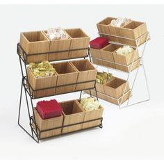 Iron 9 Bin Tiered Display: Keep your tabletops free of clutter with this unique bamboo display that holds up to nine bins to create organization and a various selection of condiments. It features a sleek silver or black frame that is accented with bamboo bins that freshen up any food service area! www.calmil.com