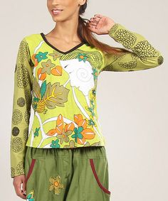 Take a look at this Lime Floral Muse V-Neck Top by Aller Simplement on #zulily today!