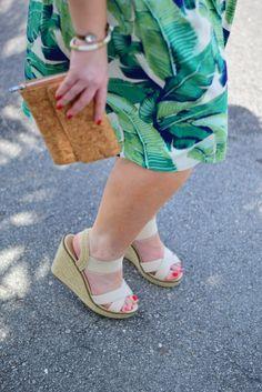 Palm Print skirt + cork clutch + espadrille wedges