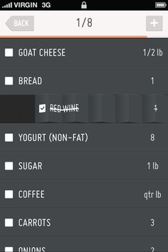 Nice sliding animation in this concept for a grocery list app. Iphone App Design, Ui Ux Design, Grocery List App, Mobile Ui Patterns, Mobile Web Design, User Experience Design, Design Research, User Interface Design, Cool Tech