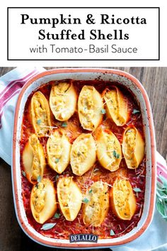 This pumpkin & ricotta stuffed jumbo shells recipe won't disappoint. Creamy ricotta, nutty Romano cheese, savory garlic and fresh chopped sage are the perfect way to accent the rich fall favorite—pumpkin! Pumpkin Recipes, Fall Recipes, Dinner Recipes, Jumbo Shell Recipes, Pasta Recipes, Cooking Recipes, Vegetarian Recipes, Tomato Basil Sauce, Basil Pasta