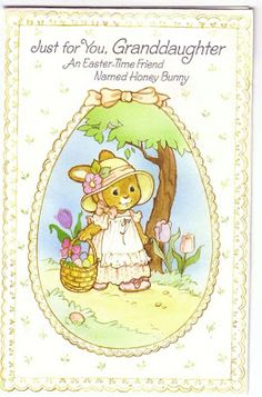 Granddaughter Easter Card with Bunny Paper Doll 1
