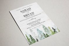 Forest Wedding Invitation Printable Winter Wedding Invite In #wedding #weddinginspiration #weddinginvitations #winterwedding #mountain