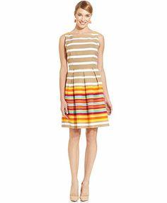 Ronni Nicole Sleeveless Striped Pleated Dress #WeartoWork