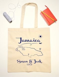 Tote Bag Wedding Favor Jamaica Illustration by jackandjillwedding, $12.00