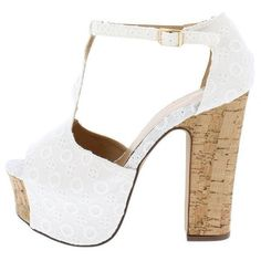 AMAZE03S WHITE EYELET EMBROIDERED CORK PLATFORM HEEL (€9,35) ❤ liked on Polyvore featuring shoes, sandals, wedge flats, flat shoes, embroidered sandals, cork platform sandals and white wedge heel sandals