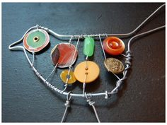 wire art, use found forest objects to add in, use gimlet tool/bradawl for holes. Wire art, use found forest objects … Wire Crafts, Fun Crafts, Arts And Crafts, Button Art, Button Crafts, Crafts With Buttons, Wire Art Sculpture, Art Sculptures, Abstract Sculpture