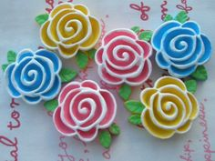 Colorful Rose with leaves Cabochons Set 6pcs 3 colors by MimiLoLo, $3.90