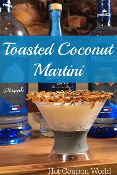 Treat yourself to this delicious ✅Toasted Coconut Martini using this simple Coconut Martini Recipe. This is easily the BEST ✅ Toasted Coconut Cocktail EVER! Coconut Martini, Coconut Rum, Toasted Coconut, Martini Recipes, Cocktail Recipes, Drink Recipes, Bar Drinks, Yummy Drinks, Alcoholic Drinks