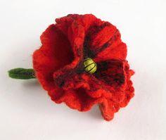 Felted flower brooch poppy hand felted brooch red by Dagneart, $19.00