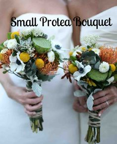15 Protea Wedding Bouquets and Arrangements   Martha Stewart Weddings - Bridesmaids at this wedding carried small clutches of succulents, chrysanthemums, pincushion flowers, lotus pods, rice flowers, protea, craspedia, anemones, and dusty miller leaves.