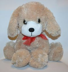"Large Dan Dee Plush Stuffed Puppy Dog Soft  Lovey Red Bow 14"" #DanDee"