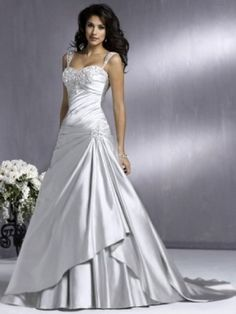 Ivory A-line/Princess Court Släp Smala Axelband rmlös Satäng Wedding Dresses för 6 090 kr