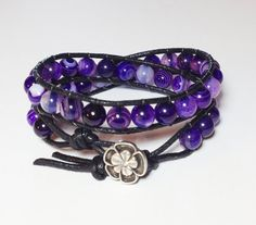 Purple Striped Agate Double Wrap Bracelet by DesignsByJen1 on Etsy, $31.00