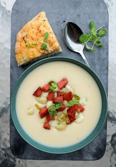 Scones, Cheeseburger Chowder, Cantaloupe, Panna Cotta, Bacon, Food And Drink, Soup, Fruit, Ethnic Recipes