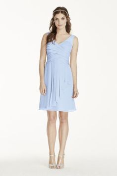 Crinkle chiffon dress with illusion tank straps on a sweetheart neckline pleated bodice from @DavidsBridal
