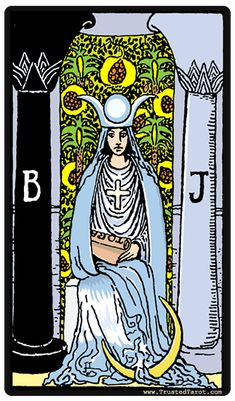 Rider-Waite The High Priestess tarot card. Major Arcana Cards, Tarot Major Arcana, One Card Tarot, Rider Waite Tarot Cards, Yi King, Tarot Significado, King Of Wands, Tarot Tattoo, Free Tarot Reading