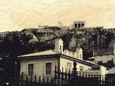 i turned my photo of Acropolis from Plaka into engraved illustration