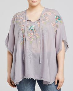 Johnny Was Collection Plus Sakura Embroidered Poncho | Bloomingdale's