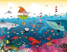Underwater World Puzzle Murals For Kids, Art For Kids, Painting For Kids, Drawing For Kids, Art Mignon, 100 Piece Puzzles, Art Mural, Children's Book Illustration, Art Plastique