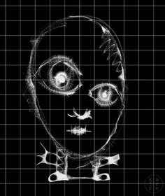 Minimalistic illustration / horror scary kid
